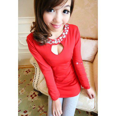 Sexy Scoop Neck Long Sleeve Solid Color Rhinestone Embellished Women's Dress - RED