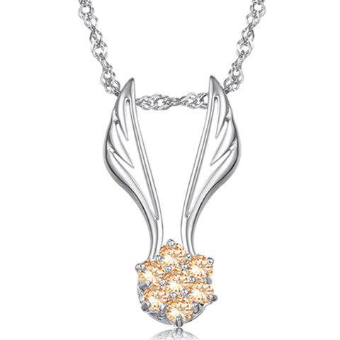 Fashionable Elegant Style Wings Shape Rhinestone Embellished Necklace For Women - YELLOW