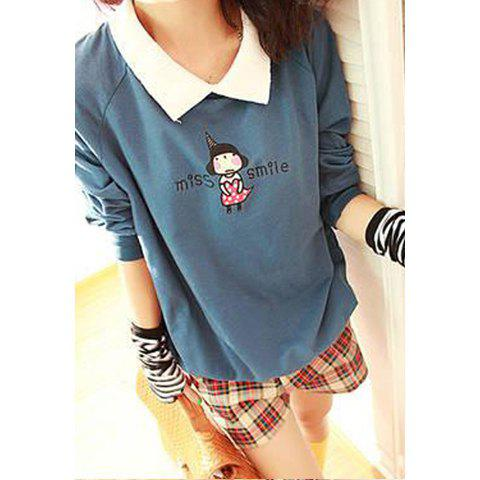 Sweet White Turndown Collar Girl and Letters Printed Long Sleeves Women's Hoodie - DEEP BLUE ONE SIZE