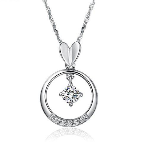Elegant Style 46CM Length Ring and Heart Shape Rhinestone Inlaid Pendant Necklace For Women - SILVER