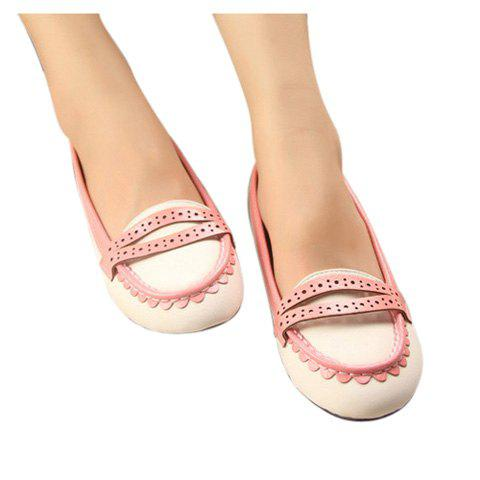 Candy Color Openwork and Round Head Design Flat Shoes For Women