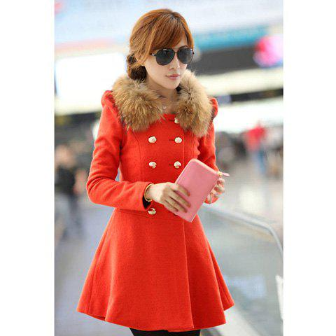 Slim Fit Round Neck Double-Breasted Women's Coat(Without Faux Fur Collar) - JACINTH L