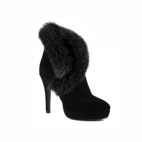 Party Fashion Stiletto Heel Cony Fur Design Women's Boots