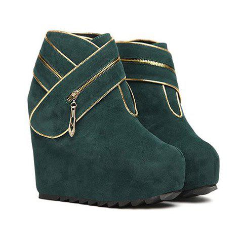 Casual Suede Preppy Style Solid Color Belt Zipper Design Women's Boots - GREEN 38