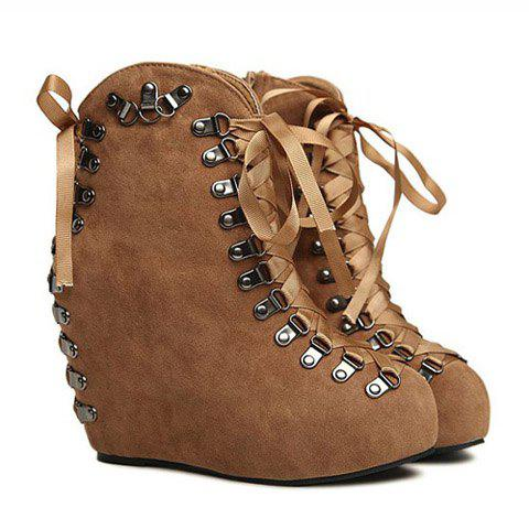 Casual Suede Solid Color Sequins Lace-Up Design Women's Boots - BROWN 35