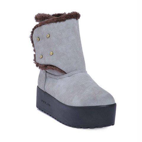 Casual Suede Platform Heel Rivets Fur Design Women's Snow Boots - GRAY 37