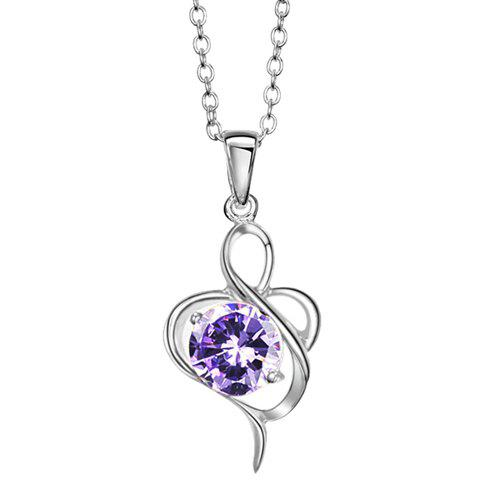 Elegant Style Twisty Flower Shape Rhinestone Inlaid Pendant Necklace For Women - PURPLE