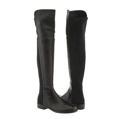 Casual Stylish Splicing PU Leather and Flat Heel Design Women's Over The Knee Boots - BLACK 36