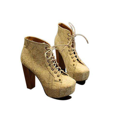 Stylish Party Solid Color Lace and Lace-Up Design Women's Short Boots - APRICOT 35