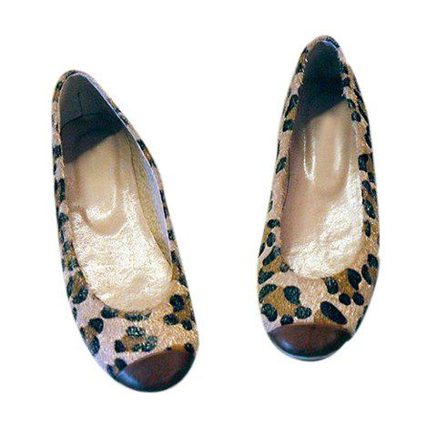 Casual Color Matching Leoaprd Patterns Design Women's Flats - BROWN 35