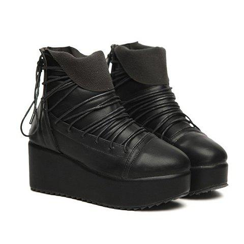 Casual Zipper and Lace-Up Design PU Women's Short Boots - BLACK 38