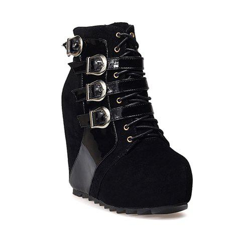 Casual Lace-Up Belts and Metal Buckle Design Women's Boots - BLACK 35