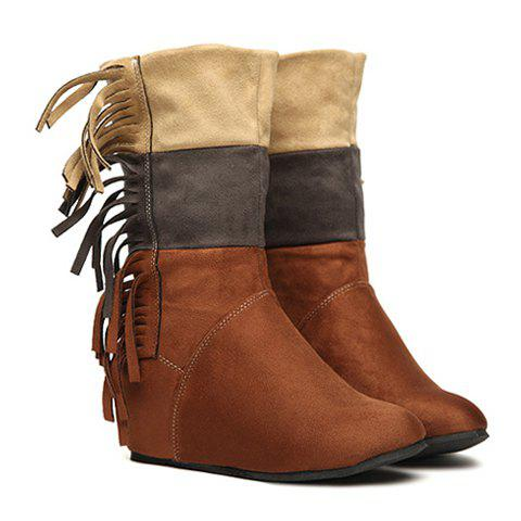 Sweet Splicing and Tassels Design Women's Short Boots - BROWN 38