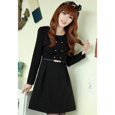 Ladylike Scoop Neck Double-Breasted Solid Color Long Sleeves Women's Dress With Belt - L BLACK