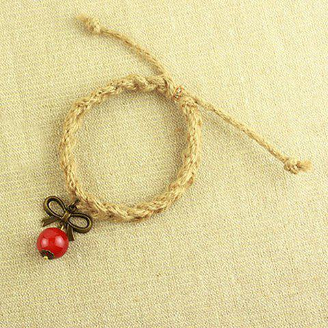 Vintage Bowknot Pendant Handmade Hemp Rope Bracelet - AS THE PICTURE