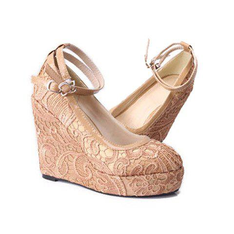Stylish Outdoor Lace and  Double Belts Design Women's Wedge Shoes - NUDE 35