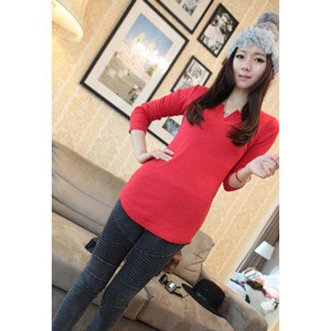 Slimming V Neck Long Sleeve Solid Color Womens's T-Shirt - RED