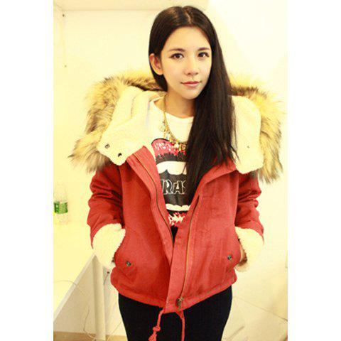 Christmas Style Hooded Furry Collar Loose Fit Long Sleeves Warm Plus Size Cotton Blend Women's Padded Jacket - JACINTH ONE SIZE