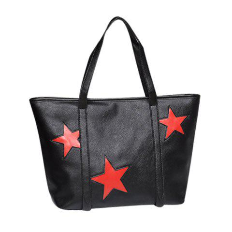 Casual Fashion Star Printed and Zipper Design Women's Shoulder Bag