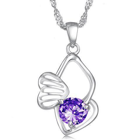 Exquisite Gorgeous Style Rhinestone Decorated Multi-Layered Heart Shape Necklace For Women - PURPLE