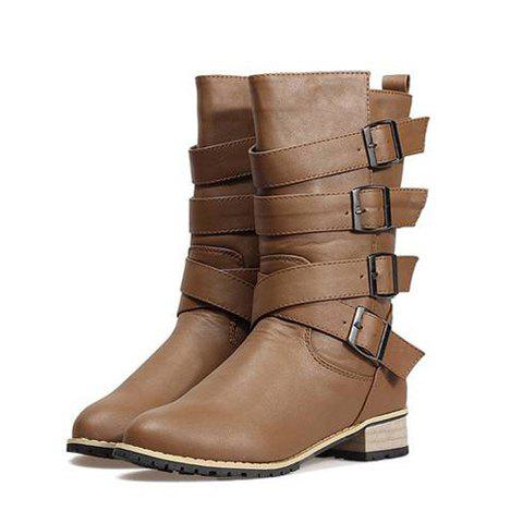 Outdoor Pure Color and Metal Buckle Design Women's Mid-Calf Boots - BROWN 36