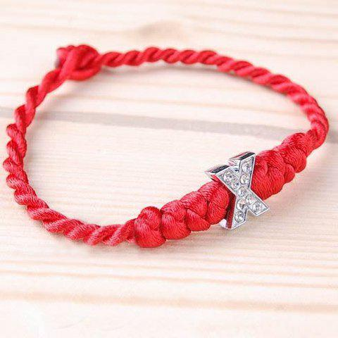 Stylish Exquisite Style Plaited Shape Letter Pendant Embellished Bracelet For Women/Men - AS THE PICTURE