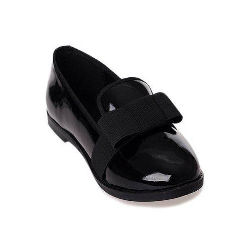 Sweet Bowknot and Round Head Design Women's Flat Shoes - BLACK 35