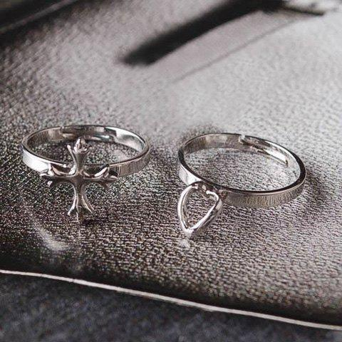 2PCS Fashion Punk Style Cross and Heart Shape Love Ring For Couple
