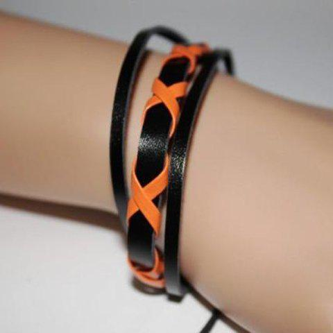 Retro Style Candy Color Cross Design Muti-layered PU Leather Bracelet - ORANGE