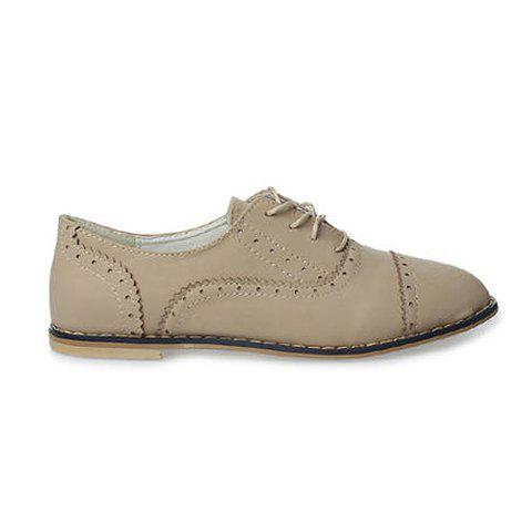 Retro Casual Solid Color Openwork and Lace-Up Design Women's Flat Shoes - APRICOT 36