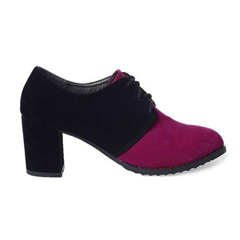 Stylish Casual Color Matching Lace-Up and Chunky Heel Design Women's Pumps - ROSE 38