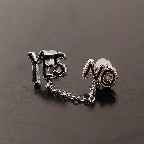 Fashionable Exquisite Style Englishe Words Yes and No Embellished Earrings For Women and Men