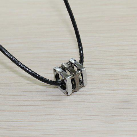 Retro and Fashionable Style Silvery Blue Openwork Cube Pendant Necklace For Couples - BLACK