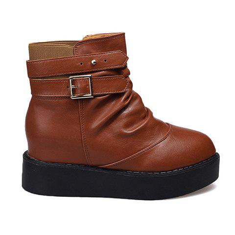 Laconic Solid Color and Buckle Design Women's Short Boots - 38 BROWN