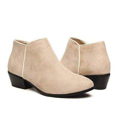Laconic Casual Pure Color Suede and Side Zip Design Women's Short Boots - APRICOT 38
