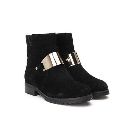Stylish Casual Flat Heel Solid Color Metal and V-Shape Opening Design Women's Short Boots - BLACK 37