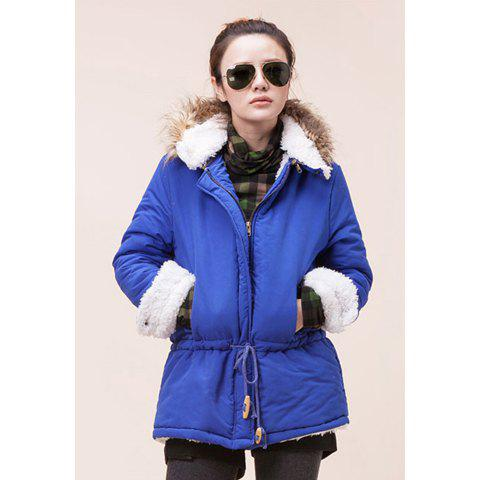 Warmness Hooded Long Sleeve Imitation Solid Color Women's Coat - SAPPHIRE BLUE