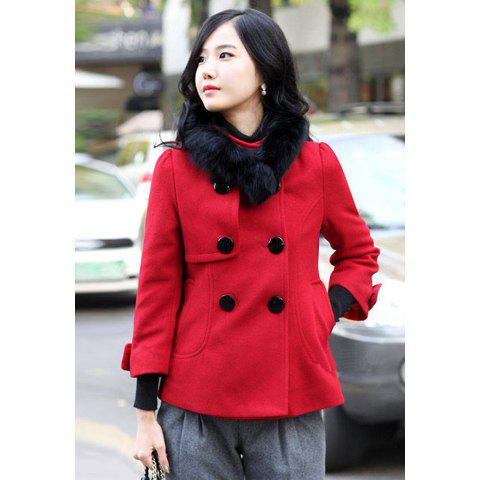 Elegant Stand-up Collar 3/4 Sleeve Solid Color Double-Breasted Woolen Women's Coat - RED M