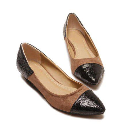 Retro Pointed-End and Splicing Design Women's Flat Shoes - BLACK 35