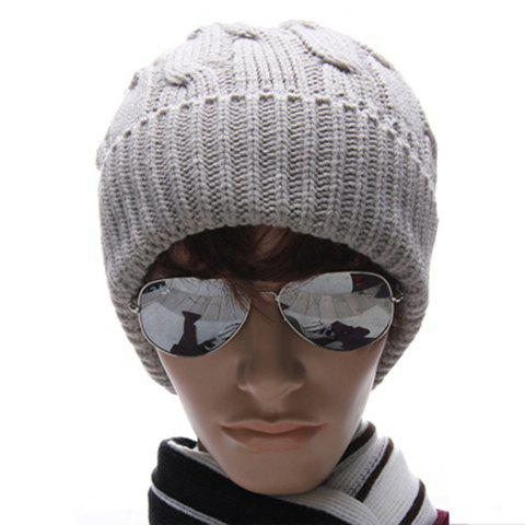 Hot Sale Fashion Solid Color Men's Woolen Yarn Cap - LIGHT GRAY