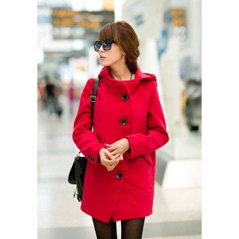 Elegant Hooded Long Sleeve Solid Color Single-Breasted Woolen Women's Coat