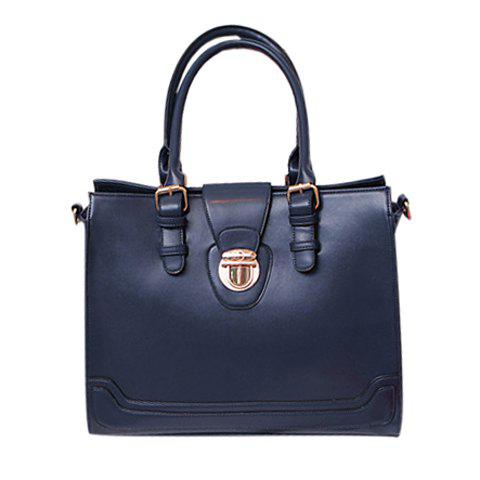 Casual Laconic Solid Color and Belts Buckles Design  Women's Tote - BLUE