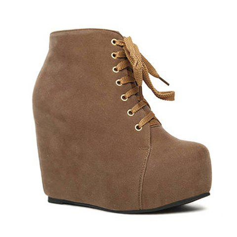 Laconic Trendy Casual Pure Color Wedge Heel and Lace-Up Design Women's Short Boots - BROWN 39
