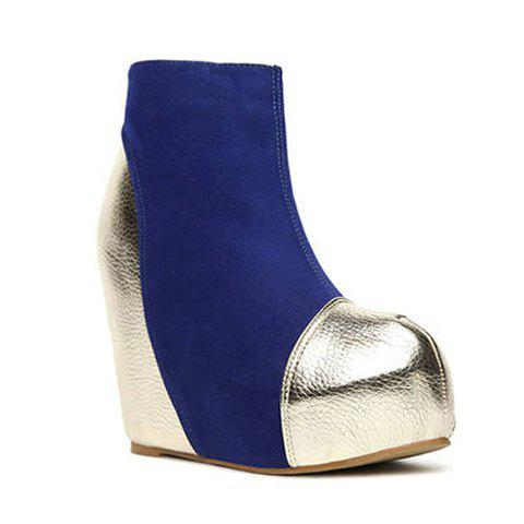 Stylish Party Color Matching Splicing and Sparkling Glitter Design Women's Short Boots - BLUE 37