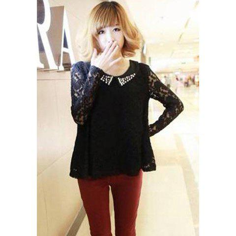 Casual Peter Pan Collar Openwork Beaded Long Sleeve Lace Women's Blouse - BLACK ONE SIZE