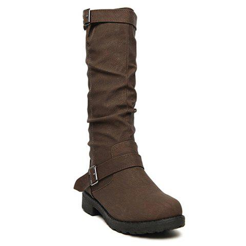 Stylish Pure Color and Ruffle and Buckle Design Women's Short Boots - BROWN 36