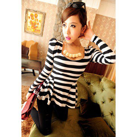 Alluring Sexy Slim Fit Large Hem Puff Sleeve Women's T-Shirt - STRIPES ONE SIZE
