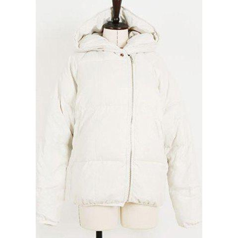 Concise Hooded Solid Color Zipper Design Long Sleeves Women's Cotton-Padded Jacket - WHITE ONE SIZE