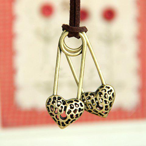 Stylish Romantic Style Double Openwork Heart Shape Design Sweater Chain For Women