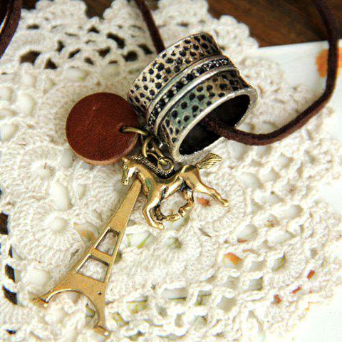 Retro Style Ring Tower and Horse Shape Pendant Embellished Sweater Chain For Women - AS THE PICTURE